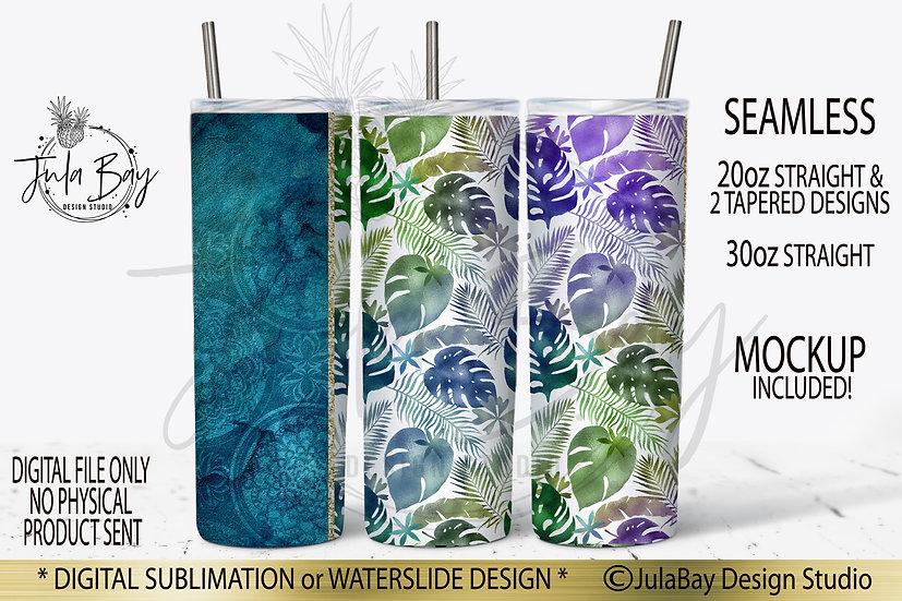 Tropical Leaves Skinny Tumbler Template PNG Design Full Tumbler Wrap Seamless Ta