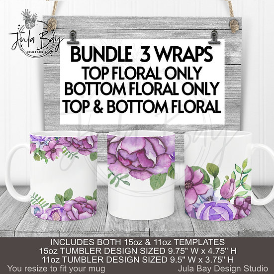 Purple Flowers Mug Wrap 11oz 15oz Mug PNG BUNDLE of 3 Designs