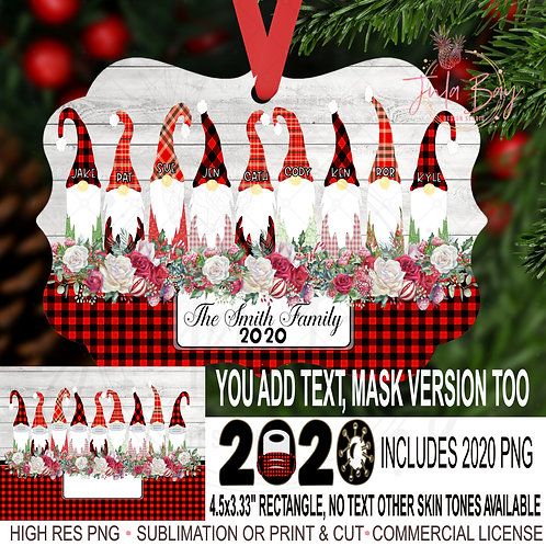 Christmas Ornament Family of 9 Gnomes with Masks Sublimation Design PNG