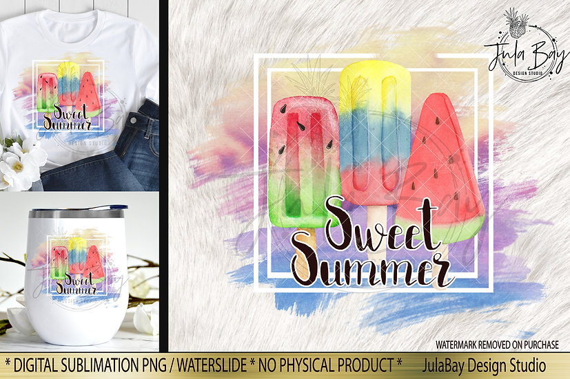 Sweet Summer PNG Frozen Treats Watermelon Sublimation Design Watercolor