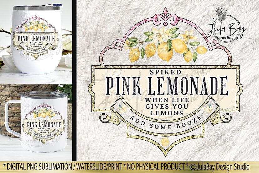 Spiked Pink Lemonade Waterslide Design Iced Tumbler Sublimation Design PNG
