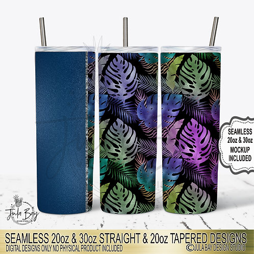 Tropical Leaves Full Tumbler Wrap Skinny Tumbler Template Design Seamless Tapere