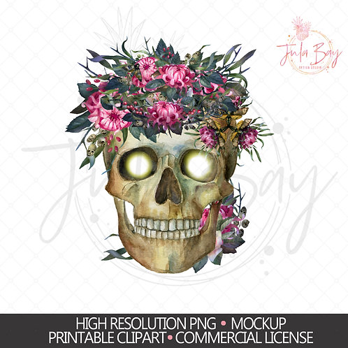 Skull with Pink Flowers - Halloween Design - Sublimation Design PNG
