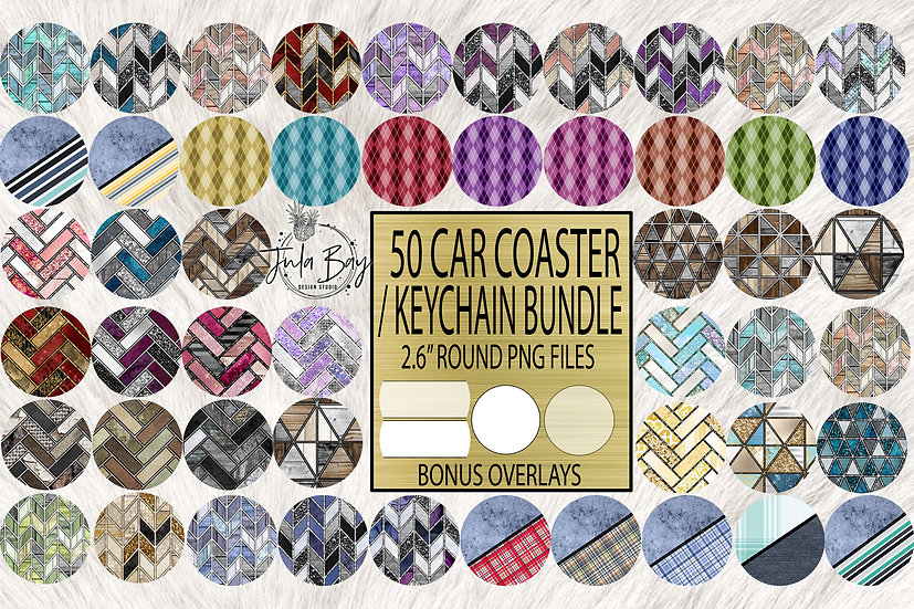 50 Keychain / Car Coaster Sublimation Rounds - 4 Bonus Overlays - Geometric