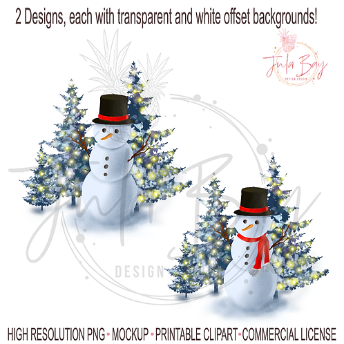 Snowman with Top hat PNG Christmas Scene Snowman with christmas lights