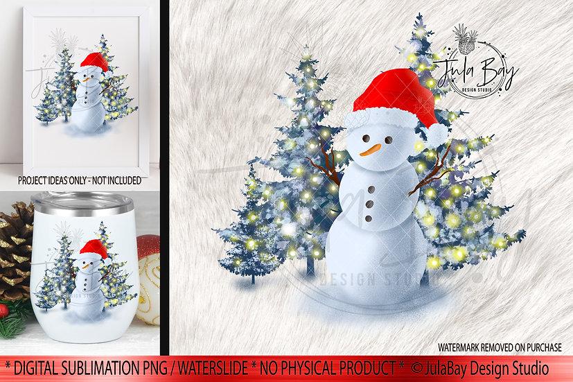 Snowman with Santa hat  Christmas Scene Snowman Christmas T