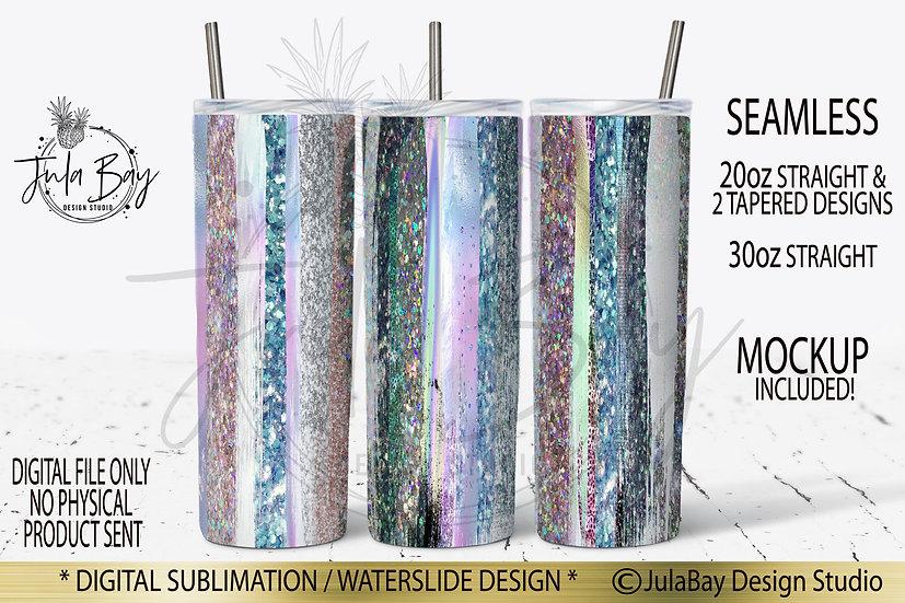 Paint Brush Stroke Tumbler Full Wrap Design PNG Iridescent Paint Stroke Glitter