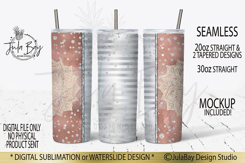 Mandala Skinny Tumbler Sublimation Designs Rose Gold
