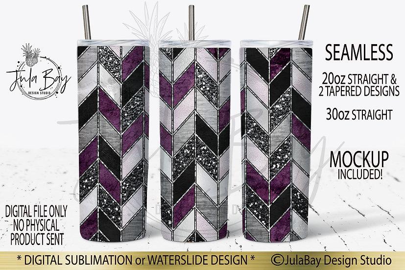 Tangram Skinny Tumbler Sublimation Purple Glitter Foil 20oz PNG #geolavish