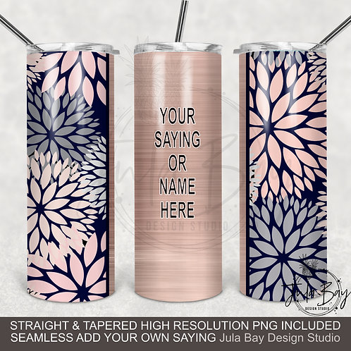 Elegant Floral Tumbler template PNG Rose Gold Navy Seamless Full Tumbler Design