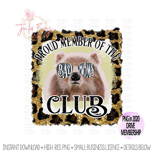 Leopard Bad Moms Club Sublimation Leopard Glitter Clipart PNG Mama Bear