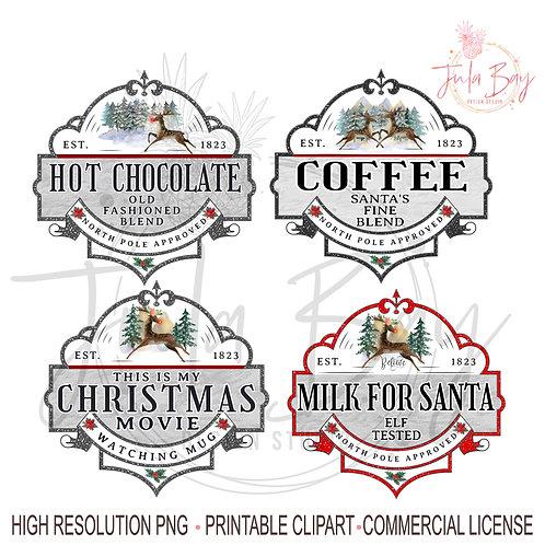 Hot Chocolate PNG Christmas Bundle PNG Milk for Santa Christmas Coffee Movie