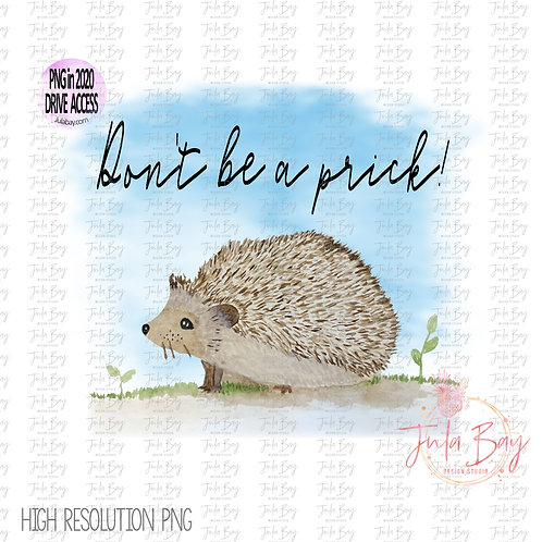 Hedgehog clipart - Don't be a prick PNG for Sublimation - Funny Hedgehog Graphic