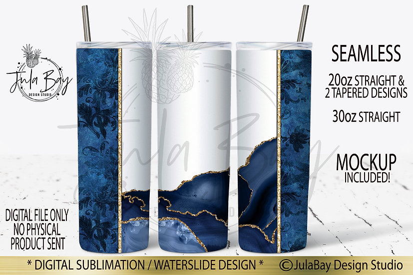 Blue Agate with Gold Glitter sublimation design for Skinny Tumblers