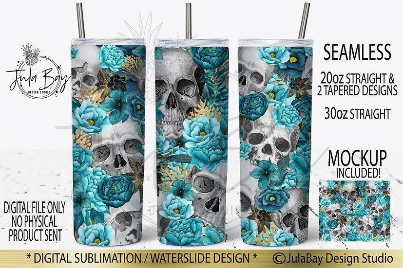 Skulls & Teal Flowers Skinny Tumbler Sublimation Design Tumbler Wrap PNG