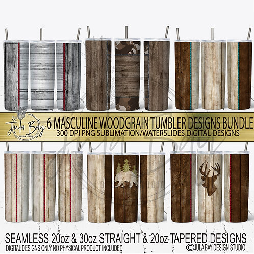 Wood Masculine  Skinny Tumbler Bundle 6 Tumbler Designs Bear Dear Pirate Shiplap