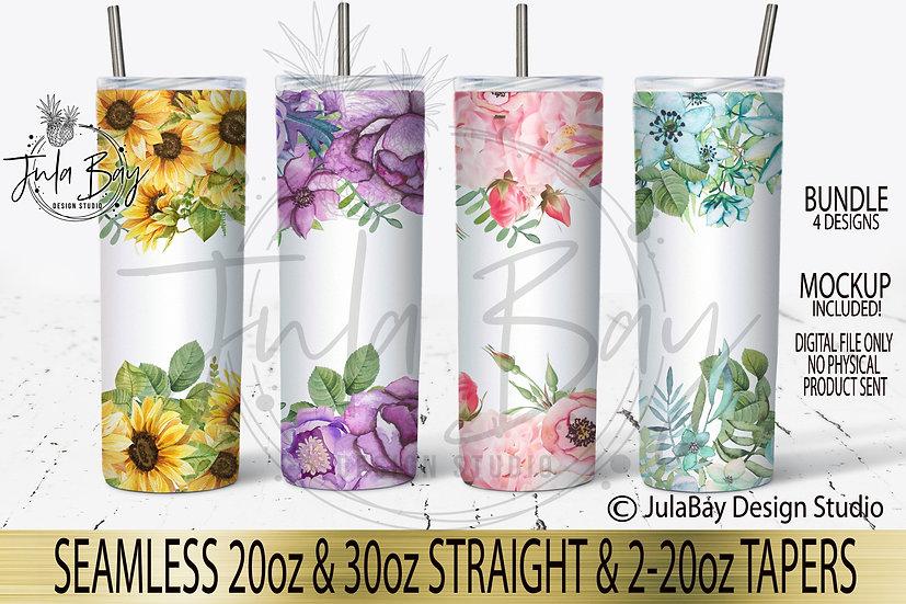Watercolor Floral Full Tumbler Wrap Customizable PNG Tumbler Full Design