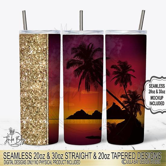 Beach Sunset PNG Full Wrap Sublimation Design Living The Dream Orange Palm Trees