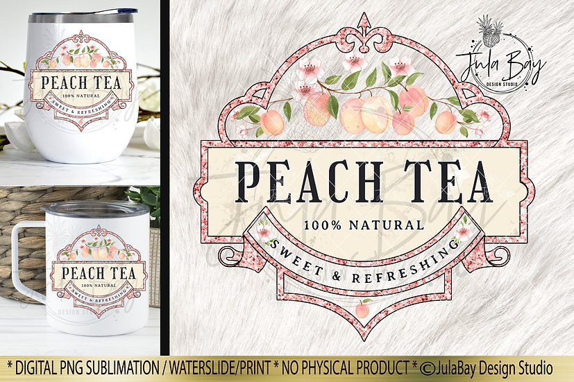 Peach Tea Sublimation Design Iced Tumbler Design Waterslide Design