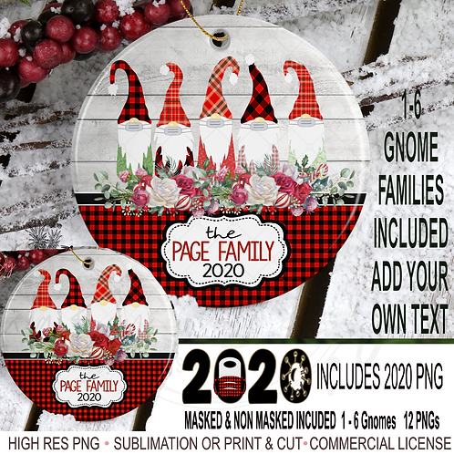 BUNDLE Gnome Family Christmas Ornament Bundle PNG 2020 Gnomes with Mask
