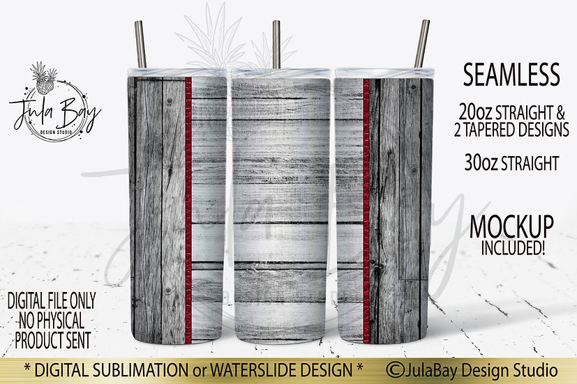 Distressed Wood Shiplap 20oz Skinny Tumbler Template PNG Masculine Tapered