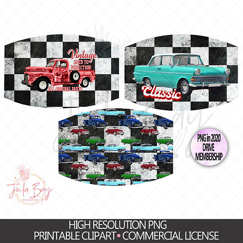 Vintage Car Masks PNG Sublimation Design Set - Aged to Perfection Original Parts