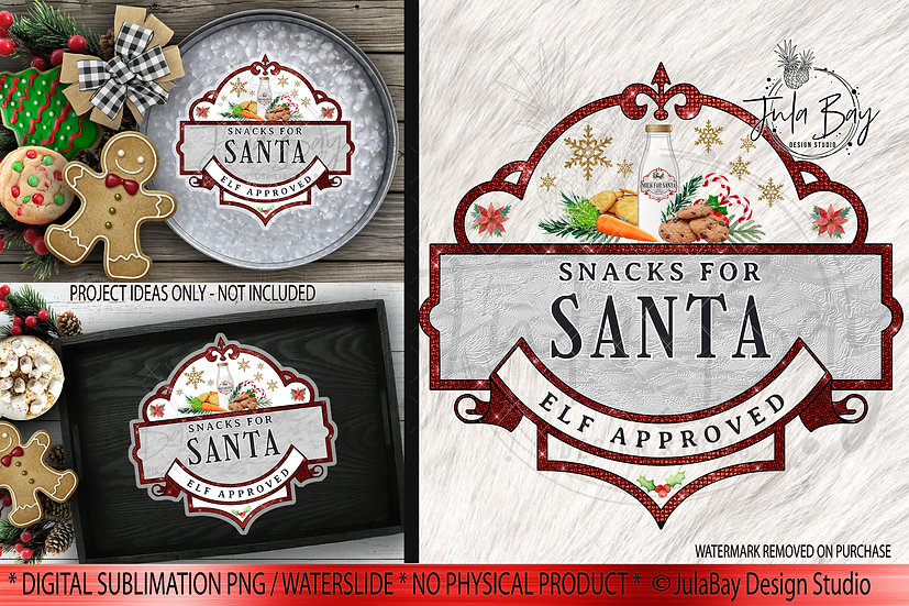 Snacks for Santa PNG Christmas Sublimation Instant Download Cricut Silhoue