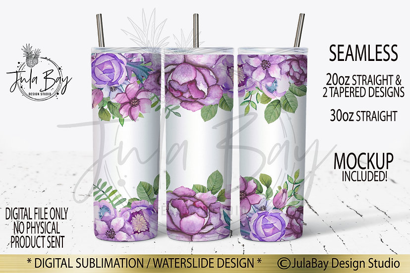 Purple Flowers  Skinny Tumbler Design Watercolor Floral Tumble Wrap PNG