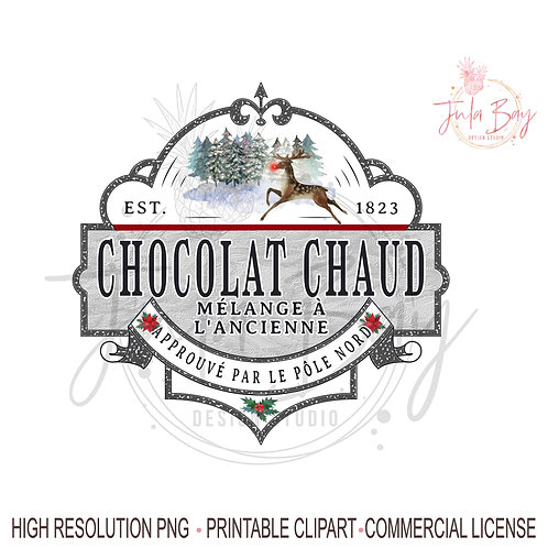 French Hot Chocolate PNG  étiquette chocolat chaud,  chocolat chaud Noël