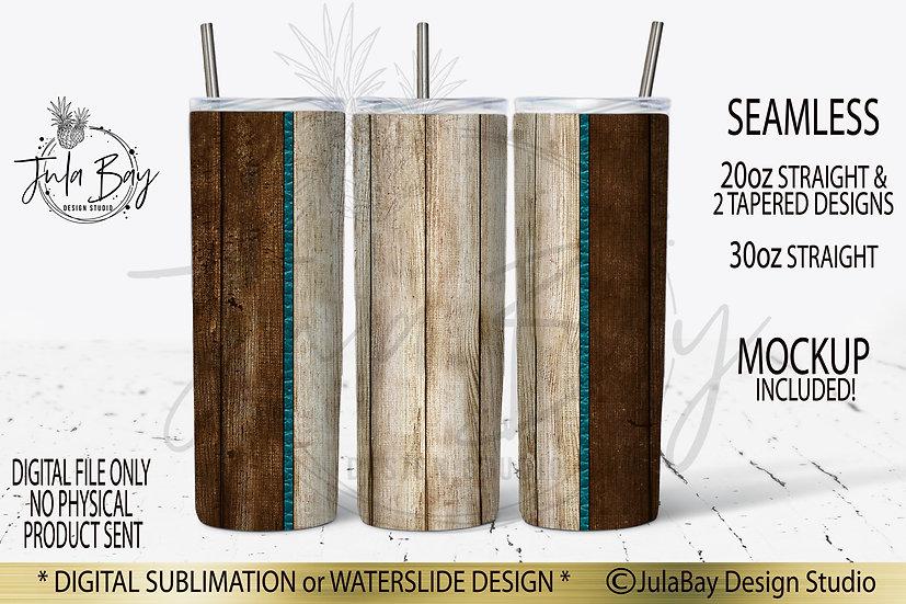 Two Tone Wood Grain Seamless Tumbler Design Sublimation PNG 20oz Skinny Tumbler