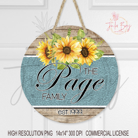 Round Door Sign PNG Pretty Sunflower Blue Leather  Sublimation Design PNG