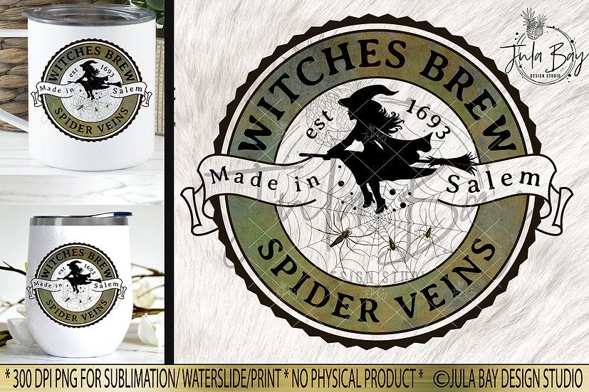 Witches Brew Spider Veins Halloween Label PNG Potion Label Elixir