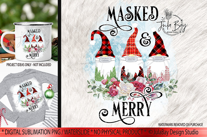 Masked & Merry Family of 3 Masked Gnomes PNG Christmas Gnome Sublimation Jammies