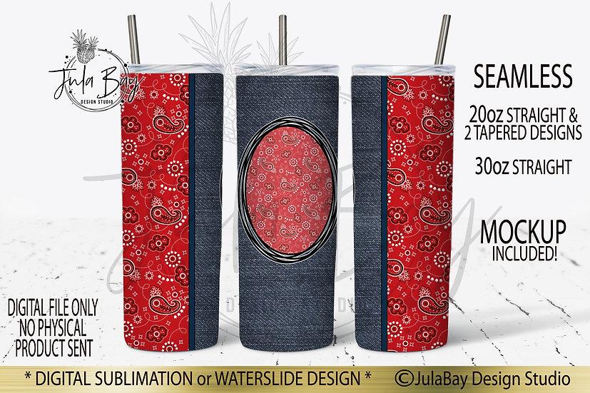Red Bandana 20oz Skinny Full Tumbler Wrap PNG Sublimation Design
