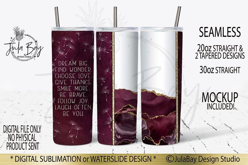 Dream Big Full Wrap PNG Sublimation Design Mauve Agate Inspirational Saying