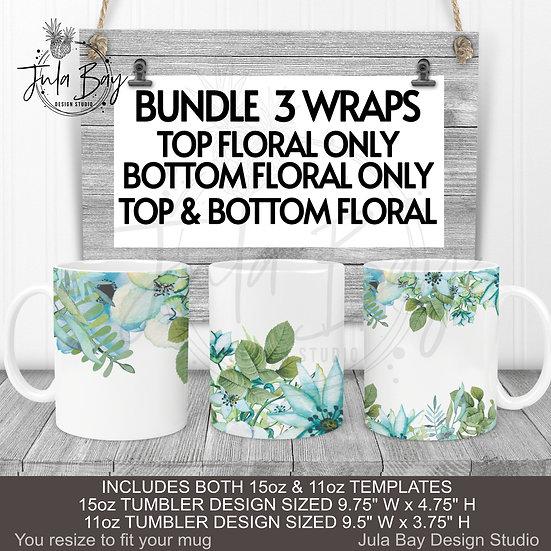 Blue Floral Mug Wrap 11oz and 15oz Mug PNG BUNDLE of 3 Designs