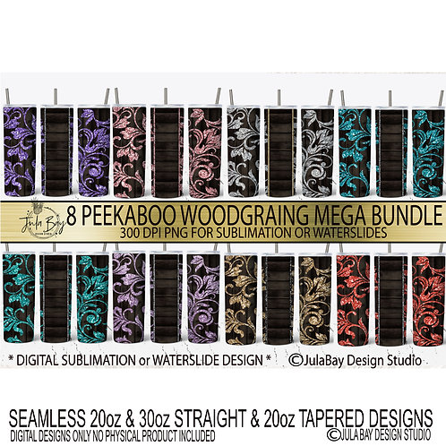 Wood Tooled leather PNG Glitter Peekaboo Tumbler Design Bundle floral vines