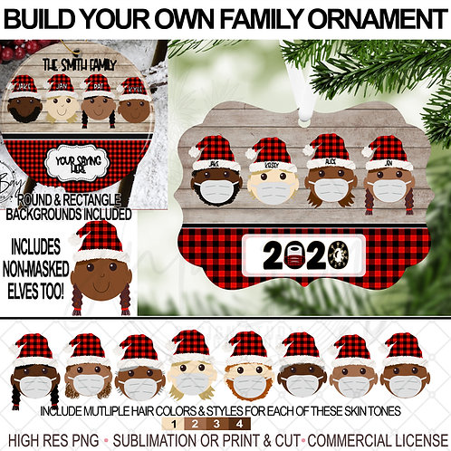 Multicultural Elf Ornament with Mask Includes 4 skin tone Build Your Own Family