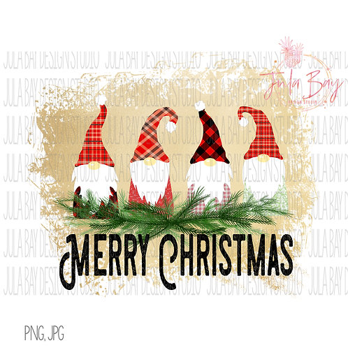 Gnome Family of 4 Merry Christmas Sublimation Clipart File