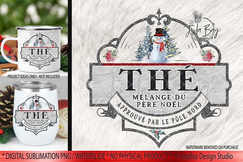 FRENCH Christmas Tea PNGÉtiquette Noël, ThéNoël, étiquette Thésublimation