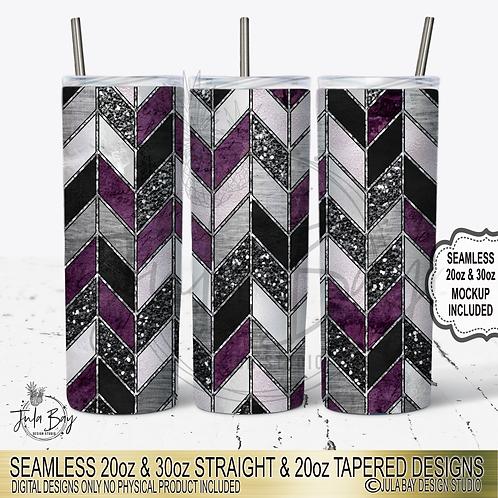 Tangram Skinny Tumbler Sublimation Design Purple Glitter Foil 20oz 30oz PNG