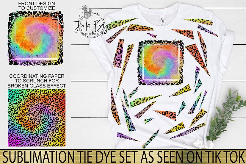 Sublimation Tie Dye Set Leopard Print Bright Tie Dye Sublimation Design Bundle
