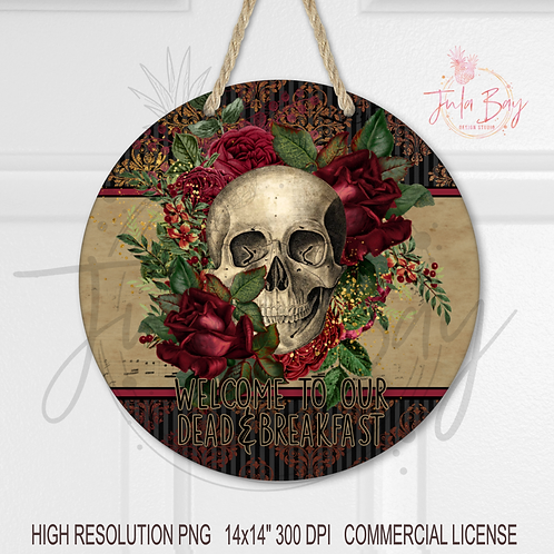 Round Sublimation Door Hanger Halloween Dead And Breakfast PNG Gothic Skull