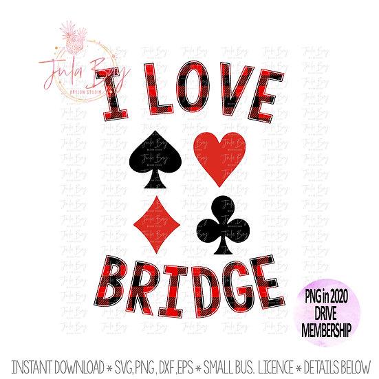 I Love Bridge Buffalo Plaid Card Lover Sublimation PNG Clipart Graphic Design
