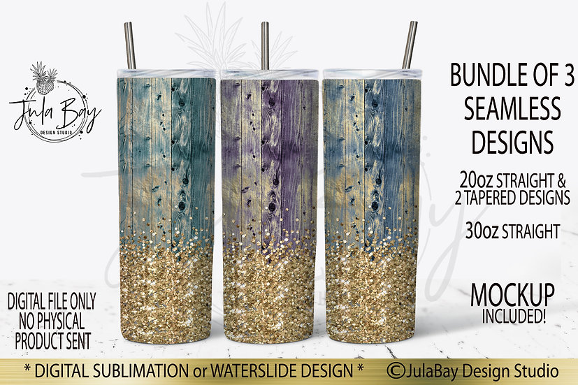 Shabby Chic Wood Grain Chunky Glitter Full Wrap PNG sublimation Skinny Bundle