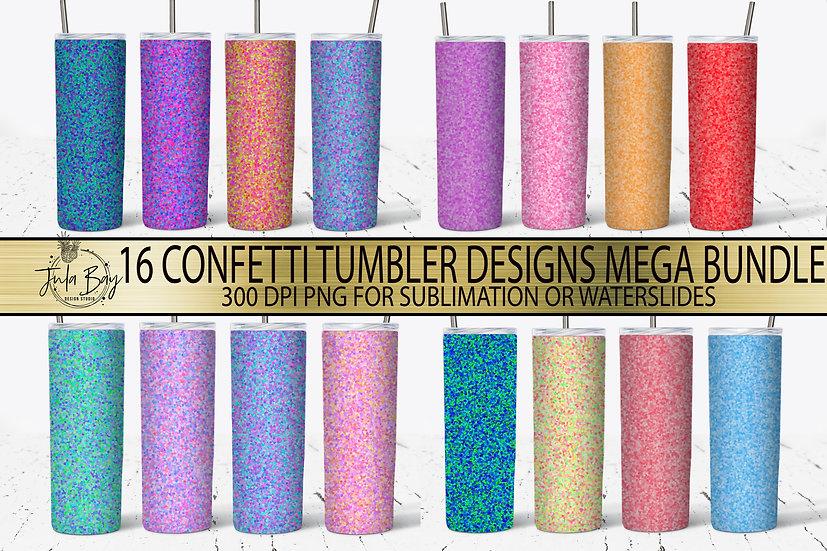 Full Tumbler Template Mega Bundle - Confetti Fun Colorful Tumbler Templates
