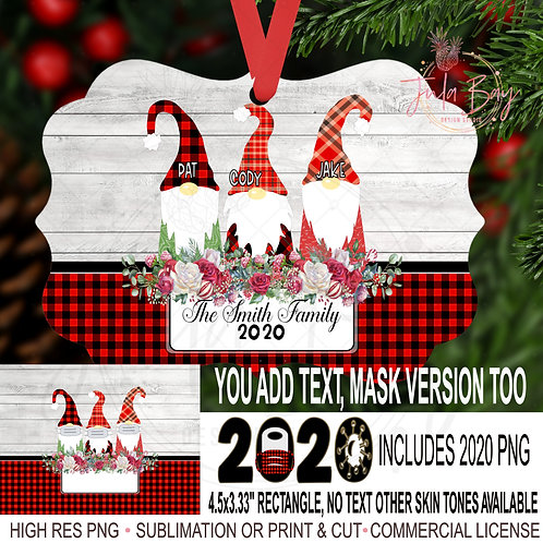 2020 Christmas Ornaments Family of 3 Gnomes with Masks Covid Chri