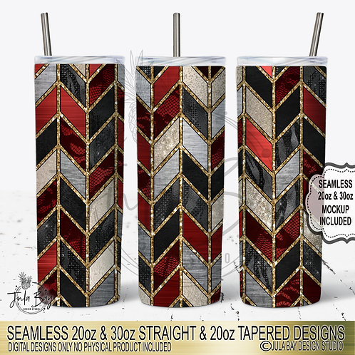Red Valentines Chevron 20oz Skinny Tumbler Template Sublimation PNG #geolavish