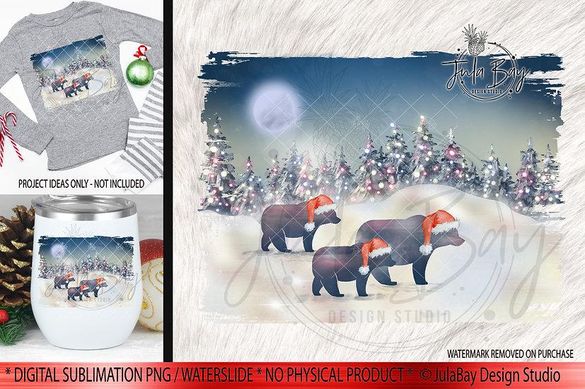 Family of 3 Christmas Bears PNG - Christmas Family Jammies Design - Rust