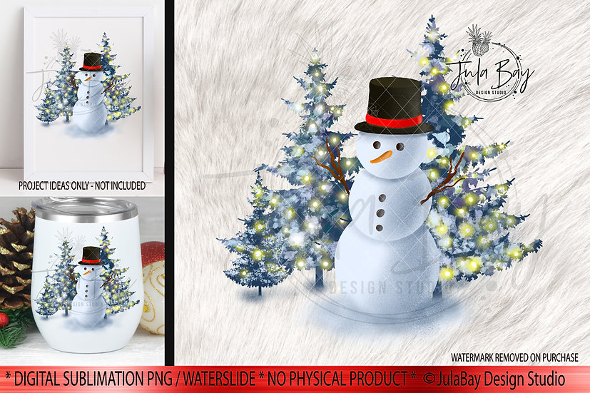 Snowman with Tophat Christmas Scene Snowman Christmas Trees
